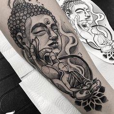 Leg Tattoos Women, Back Tattoo Women, Arm Tattoos, Pretty Tattoos, Cute Tattoos, Buddah Sleeve Tattoo, Buddhism Tattoo, Buda Tattoo, Buddha Tattoo Design