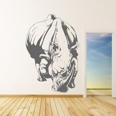 Charging Rhinoceros Animals Wall Decal Wall Art Stickers - Animals