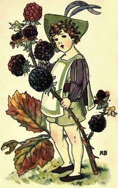 Blackberry - Victorian Girl with Blackberry Branch