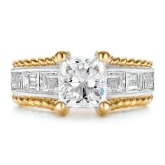 Custom Two-Tone Platinum and Gold Diamond Engagement Ring | Joseph Jewelry Seattle Bellevue