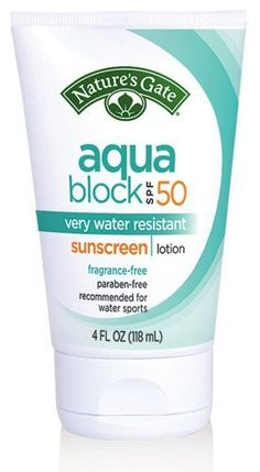 Natures Gate Sunscreen Aqua Block Very Water-Resistant Fragrance-Free 4 oz by Natures Gate. $10.91. Certified Organic. Natures Gate Sunscreen Aqua Block Very Water-Resistant Fragrance-Free 4 oz
