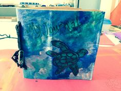 Journal book made from recycled paper bags for my son's 3rd grade art class.