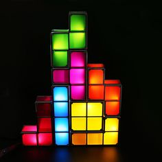 Tetris LED Light Desk Bed Lamp Retro Game Style Stackable Magic Gift for sale online Bedside Lighting, Bedside Lamp, Office Lighting, Lighting Ideas, Light Table, Lamp Light, Desk Light, Novelty Lighting, Led Desk Lamp