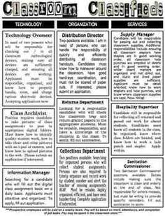 Classroom Classifieds - Classroom Jobs handout, job applic