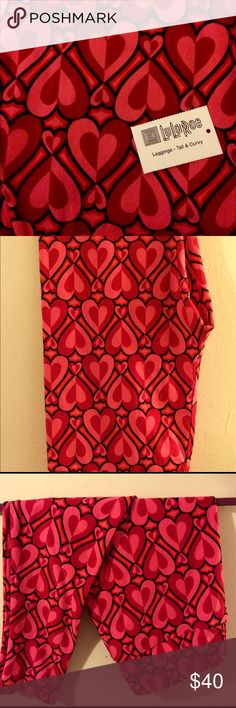 LuLaRoe Valentines Day Leggings TC 2017 LuLaRoe Valentines Day Leggings size TC Thin and Curvy fits sizes 12-24. Buttery soft leggings with pink/red hearts outlined in black. LuLaRoe Pants Leggings