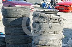 Froya Airport, Norway, 12 september 2015: Norwegian drifting car racing.  Destroyed tires and burnt tire tread on car drifting in Norway Island in the Atlantic Ocean and Norwegian fjord.