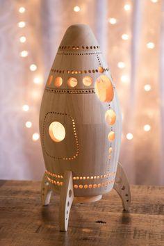 Wooden Rocket Ship Night Light - Nursery / Baby / Kid Lamp - Spaceship Nightlight Lantern for Outer Space Theme by LightingBySara on Etsy https://www.etsy.com/listing/262390597/wooden-rocket-ship-night-light-nursery