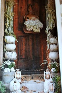 Fall Entry in white - stacked white pumpkins