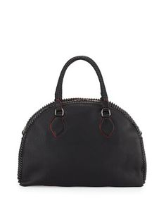 Panettone Large Spiked Satchel Bag, Black by Christian Louboutin at Neiman Marcus.