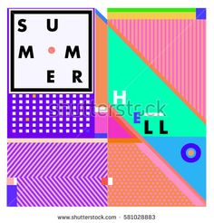 Trendy vector summer cards illustration with line elements and abstract colorful textures. Design for poster, card, invitation, brochure, and promotion template. Fashion art print and background.