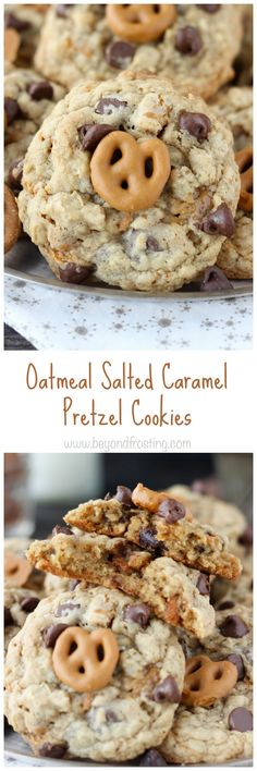 You can't go wrong with an Oatmeal Salted Caramel Pretzel Cookie. There's a ribbon of caramel, chopped pretzels, chocolate chips and a salted caramel coated pretzel on top. Salty meets sweet in the best way possible.