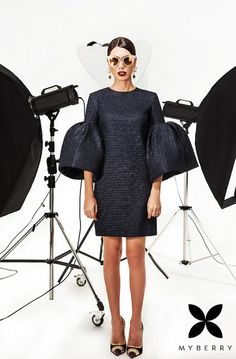 Navy luxury glimpse dress woven with strands of silver for a subtle shimmer and finished with lush sleeves! Betrendy.co.ua #dress #myberry #ny #eve #party #shine #sparkling #queen #girls #betrendy #party #happiness #holiday #beautiful #radiance #shine