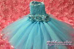 custom Tutu dress  girl  first birthday  blue  by Ribbonaira, $35.00