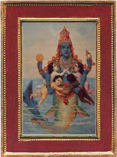 The first incarnation of Lord Vishnu, who establishes civilization in the form… Small Fish, Big Fish, Lord Vishnu Wallpapers, Mughal Empire, Old Paintings, Antique Prints, Hinduism, Incredible India, Civilization