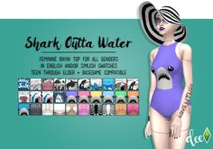 Shark Outta Water Bodysuit as Top at Deetron Sims • Sims 4 Updates