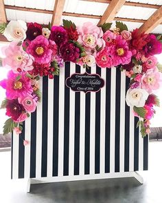 A photo wall for guests to take pictures is always a great activity! #event #eventplanning #eventplanner #photowall #photo #wedding #photography #flowers #backdrop #photobackdrop #stripes #design #evedeso #eventdesignsource - posted by The RED Philosophy https://www.instagram.com/theredphilosophy. See more Event Planners at http://Evedeso.com