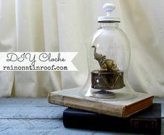 Less than $5 and EASY to make! DIY Cloche {rainonatinroof.com} #Cloche #DIY #DIYCloche