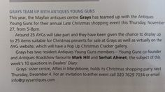 Monday, 24 November 2014: Antique Trade Gazette (Issue 2162) - A mention in ATG about the Grays Christmas Shopping Event & The Antique Young Guns 'Christmas Crackers' collaboration.