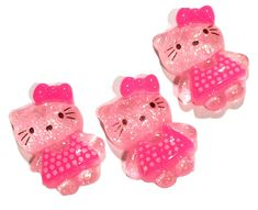 Pink glitter kitty w/ bow resin cabochon 20x14mm / 1-5 pieces