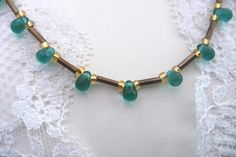 Turquoise and gold beaded necklace  drop beads by LiloLilsEmporium