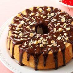 Mocha-Hazelnut Glazed Angel Food Cake Recipe -I love this recipe because it combines three of my favorite flavors: coffee, hazelnuts and cherries.—Joan Pecsek, Chesapeake, Virginia