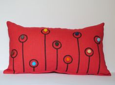 Items similar to Coral Red Linen Pillow Case Embellished With Colourful Felt Balls and Pen Drawing New Design by tuliManna Inch on Etsy Linen Pillows, Throw Pillows, Felting, Pillow Cases, Fiber, Coral, Natural, Red, Handmade