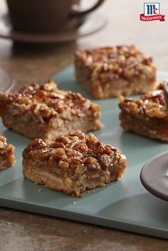 Enjoy all the flavors of pecan pie in these easy-to-make bar cookies. Serve as a Thanksgiving dessert for the perfect post-dinner feast.