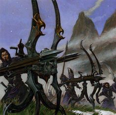Reaper of the Red's Repeater Bolt Throwers, a variation of the Eagles Claw wielded by the High Elves Dark Fantasy, Fantasy Battle, Fantasy Weapons, Fantasy Warrior, Fantasy Rpg, Fantasy World, Warhammer Dark Elves, Warhammer Art, Warhammer Fantasy Roleplay