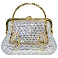 Judith Leiber ~ Swarovski Crystal Buckle Design Minaudière Purse with Accoutrements