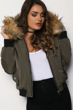 Zipped Up Bomber Jacket With Faux Fur Trim Hood Khaki   LASULA