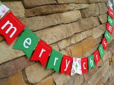 Merry Christmas Felt Bunting Banner Garland on Etsy, $15.00