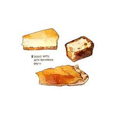 Desserts Drawing, A Food, Food And Drink, Dessert Illustration, Food Doodles, Chibi Food, Cute Food Drawings, Food Sketch, Watercolor Food