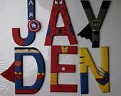 """Hand-painted 5.5"""" tall wood letters Marvel and DC Superheroes"""