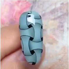 So easy and unique 💙🖤 Nail Art Designs Videos, Nail Design Video, Creative Nail Designs, Nail Art Videos, Creative Nails, Nails Design, Nail Art Hacks, Gel Nail Art, Nail Art Diy