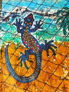 #Tokeh or #gecko – #Batik on paper
