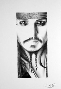 Portrait of Johnny Depp as Jack Sparrow in 'Pirates of the Caribbean'  An original pencil drawing by Ileana Hunter.