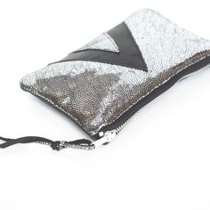 Silver Galaxy Leather // Art Deco Purse // by gmaloudesigns, $34.99