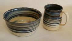 Agateware bowl and mug set by Pottery by Chris Burch