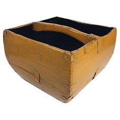 Antique Mustard Yellow Asian Rice Basket on Chairish.com