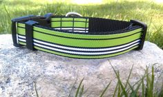 Preppy Green & Black Stripe Dog Collar by WillyWoofs on Etsy, $16.00