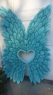 Each feather is carved and individually hand painted and shaded. Heart Cut-Out Angel Wings. Angel Wings Wall Art, Angel Wings Wall Decor, Angel Decor, Fall Crafts, Diy And Crafts, Diy Wings, Wing Wall, Angel Crafts, Creations
