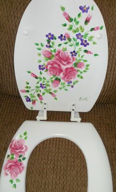 Really?? Painting gone wild!  Custom Hand Painted Molded Wood Elongated Toilet Seat Roses ChicShabby