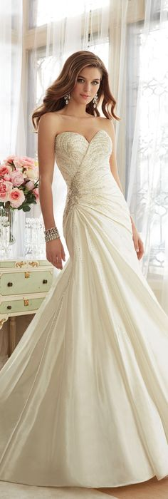 This wedding dress design is so romantic! #romantic #wedding #dress by @moncheribridals #sweetheart #neckline