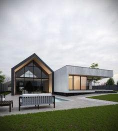 Private house on Behance Modern Barn House, Modern House Plans, Modern House Design, Contemporary Design, Roof Architecture, Modern Architecture House, House Roof, Facade House, Courtyard House