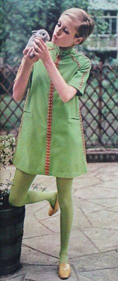 Twiggy modelling a dress from her own label, September, 1967. Photograph by Joseph Santoro. Image scanned by Sweet Jane from Seventeen magaz...