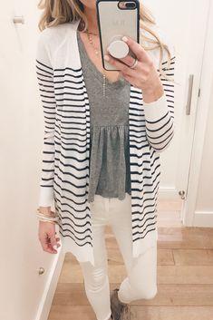 27e9f7cbd793e poor quality striped cardigan - pass on this one - Pinteresting Plans blog  Striped Cardigan,