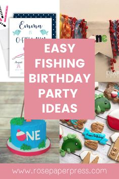 The best ideas for hosting a Fishing Birthday Party for kids. O'fishally one birthday party ideas including invitations, cookies, cake, and decorations. Kids Birthday Themes, Birthday Invitations Kids, 1st Birthday Parties, Boy Birthday, Picture Banner, Girl Fishing, Cake Cookies, Holiday Cards, Banners