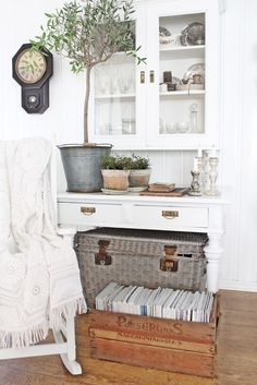 VIBEKE DESIGN.  Love the magazines in a crate.
