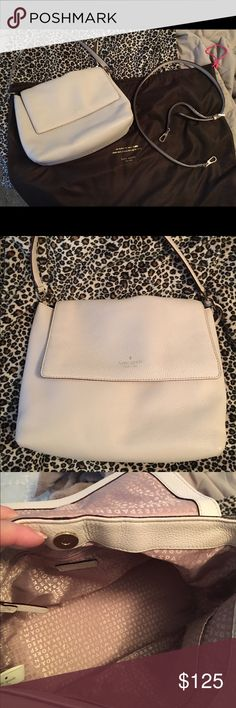 Beautiful leather Kate Spade satchel 100% genuine leather and medium sized. Can be used as a crossbody. Monogrammed interior. Flawless with zero imperfections  comes with dust bag and strap. Blush-Cream color. Used only 3 times kate spade Bags Satchels