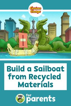 """In search of the perfect rainy day activity for your preschooler? Build a boat (and your child's science skills!) using household or recycled materials with this """"Curious George"""" activity!   #PBSKIDS #PBSKIDSforParents #summeractivities Rainy Day Activities, Summer Activities For Kids, Crafts For Kids, Sailboat Craft, Pbs Kids, Curious George, Recycled Materials, Preschool, Household"""